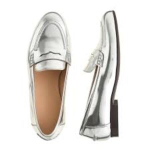 J.Crew metallic silver penny loafers